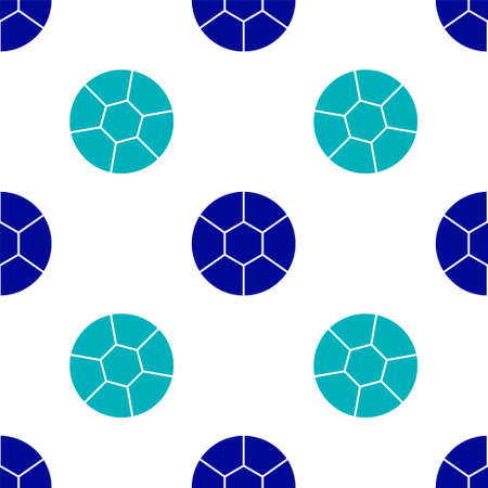 Blue Football ball icon isolated seamless pattern on white background. Soccer ball. Sport equipment.  Vector Illustration.