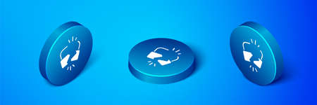 Isometric Broken or cracked lock icon isolated on blue background. Unlock sign. Blue circle button. Vector Illustration