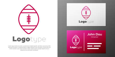 Logotype line American Football ball icon isolated on white background. Rugby ball icon. Team sport game symbol. Logo design template element. Vector Illustration Illustration