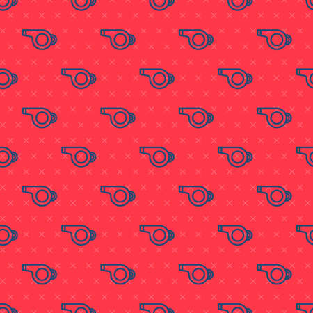 Blue line Whistle icon isolated seamless pattern on red background. Referee symbol. Fitness and sport sign. Vector Illustration  イラスト・ベクター素材