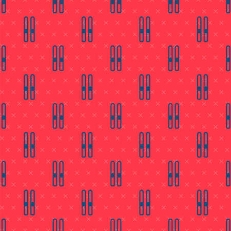 Blue line Ski and sticks icon isolated seamless pattern on red background. Extreme sport. Skiing equipment. Winter sports icon. Vector Illustration