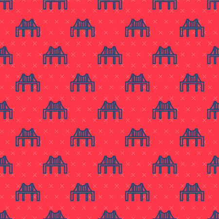 Blue line Golden gate bridge icon isolated seamless pattern on red background. San Francisco California United States of America. Vector Illustration Illusztráció