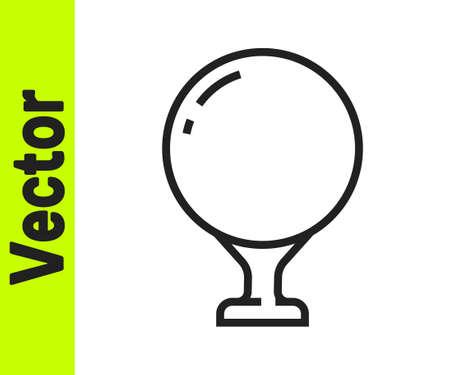 Black line Golf ball on tee icon isolated on white background. Vector Illustration Illustration