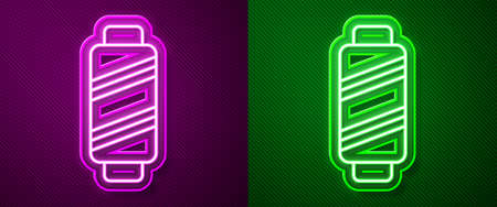 Glowing neon line Sewing thread on spool icon isolated on purple and green background. Yarn spool. Thread bobbin. Vector Illustration Illustration