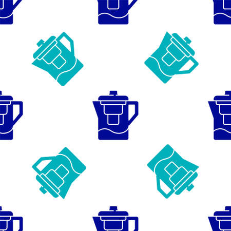Blue Water jug with a filter icon isolated seamless pattern on white background. Vector Illustration Ilustração Vetorial
