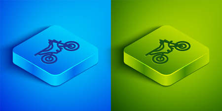 Isometric line Mountain bike icon isolated on blue and green background. Square button. Vector Illustration Ilustração