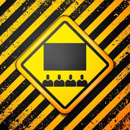 Black Cinema auditorium with screen icon isolated on yellow background. Warning sign. Vector Illustration