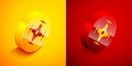 Isometric Drone flying icon isolated on orange and red background. Quadrocopter with video and photo camera symbol. Circle button. Vector Illustration.
