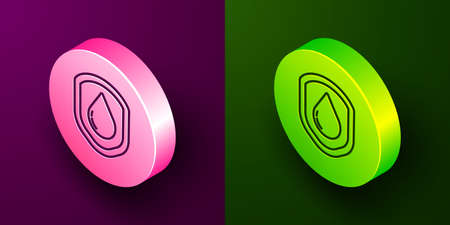 Isometric line Waterproof icon isolated on purple and green background. Water resistant or liquid protection concept. Circle button. Vector Illustration Vetores