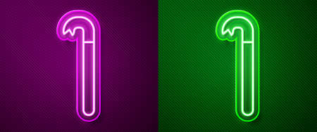 Glowing neon line Crowbar icon isolated on purple and green background. Vector Illustration