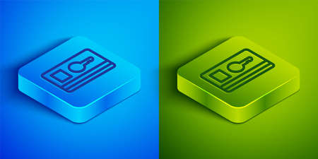 Isometric line Key card icon isolated on blue and green background. Square button. Vector Illustration