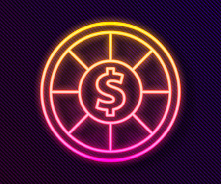Glowing neon line Casino chips icon isolated on black background. Casino gambling. Vector Illustration.
