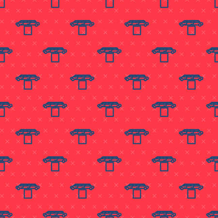 Blue line Luxury limousine car and carpet icon isolated seamless pattern on red background. For world premiere celebrities and guests poster. Vector Illustration.