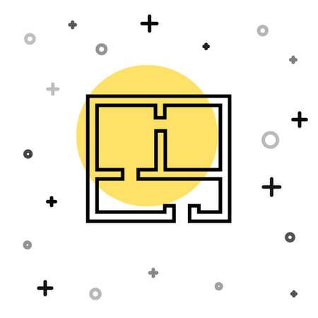 Black line House plan icon isolated on white background. Random dynamic shapes. Vector Illustration