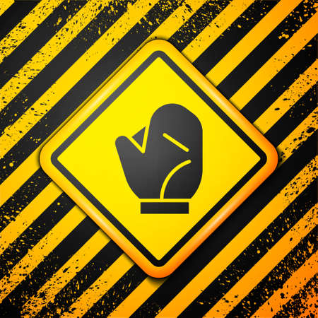 Black Baseball glove icon isolated on yellow background. Warning sign. Vector Illustration. Illustration