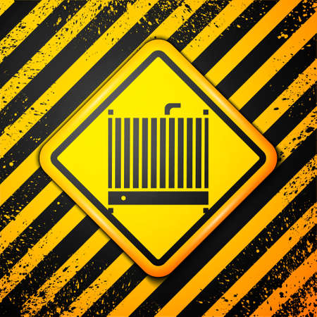 Black Car radiator cooling system icon isolated on yellow background. Warning sign. Vector Illustration.
