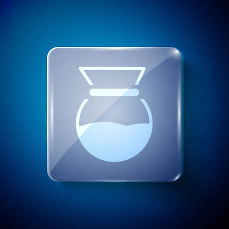 White cup icon isolated on blue background. Alternative methods of brewing coffee. Coffee culture. Square glass panels. Vector Illustration.