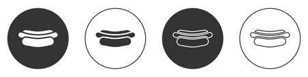 Black Hotdog sandwich icon isolated on white background. Sausage icon. Fast food sign. Circle button. Vector Illustration.