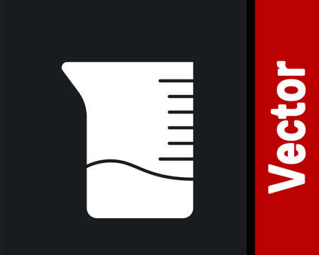 White Measuring cup icon isolated on black background. Plastic graduated beaker with handle. Vector Illustration.