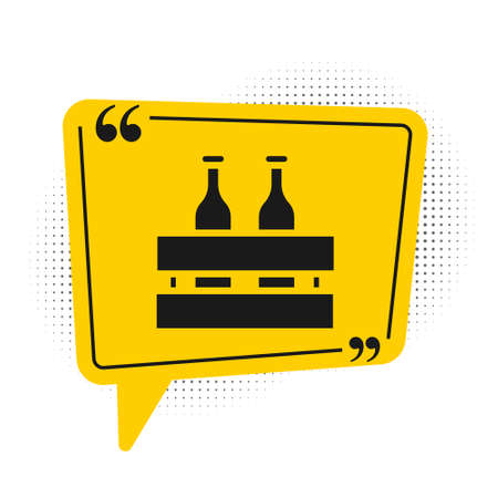 Black Pack of beer bottles icon isolated on white background. Wooden box and beer bottles. Case crate beer box sign. Yellow speech bubble symbol. Vector Illustration.
