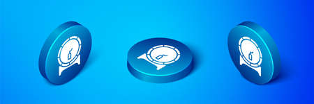 Isometric Wooden barrel on rack with stopcock icon isolated on blue background. Blue circle button. Vector Illustration. Illustration