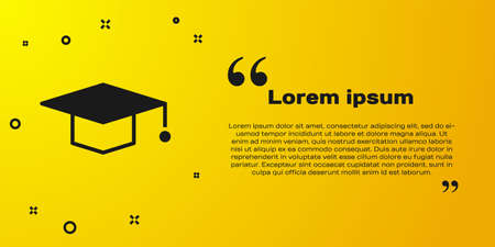Black Graduation cap icon isolated on yellow background. Graduation hat with tassel icon. Vector Illustration