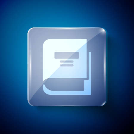 White Book icon isolated on blue background. Square glass panels. Vector Illustration