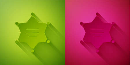 Paper cut Hexagram sheriff icon isolated on green and pink background. Police badge icon. Paper art style. Vector Illustration