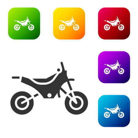 Black Mountain bike icon isolated on white background. Set icons in color square buttons. Vector Illustration