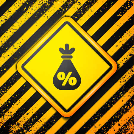 Black Money bag with percent icon isolated on yellow background. Cash Banking currency sign. Warning sign. Vector Illustration