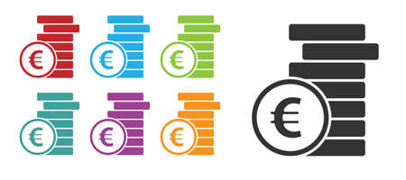 Coin money with euro symbol icon isolated on white background. Banking currency sign. Cash symbol.