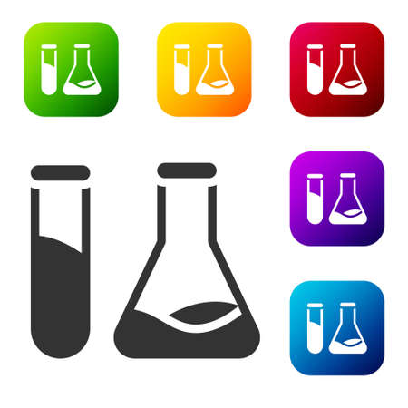 Black Test tube and flask - chemical laboratory test icon isolated on white background. Laboratory glassware sign. Set icons in color square buttons. Vector Illustration.