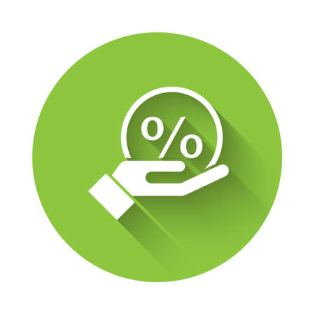 White Discount percent tag icon isolated with long shadow. Shopping tag sign. Special offer sign. Discount coupons symbol. Green circle button. Vector Illustration