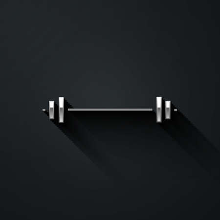 Silver Barbell icon isolated on black background. Muscle lifting icon, fitness barbell, gym, sports equipment, exercise bumbbell. Long shadow style. Vector Illustration. Illustration