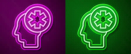 Glowing neon line Male head with hospital icon isolated on purple and green background. Head with mental health, healthcare and medical sign. Vector Illustration Иллюстрация