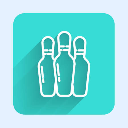 White line Bowling pin icon isolated with long shadow. Green square button. Vector Illustration. Illustration