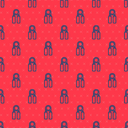 Blue line Sport expander icon isolated seamless pattern on red background. Sport equipment. Vector Illustration.