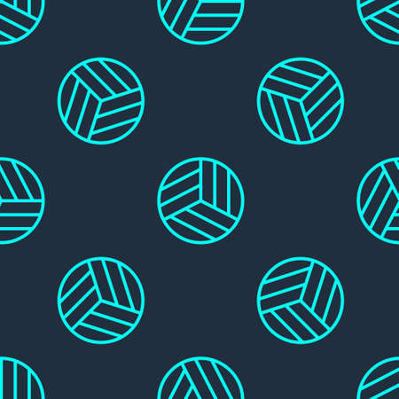 Green line Volleyball ball icon isolated seamless pattern on blue background. Sport equipment. Vector Illustration.