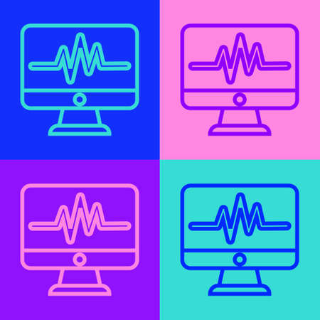 Pop art line Computer monitor with cardiogram icon isolated on color background. Monitoring icon. ECG monitor with heart beat hand drawn. Vector Illustration. Ilustracja