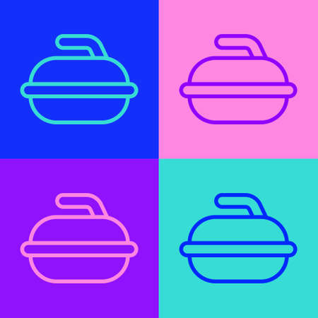 Pop art line Stone for curling sport game icon isolated on color background. Sport equipment. Vector Illustration.
