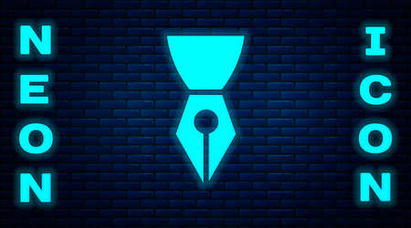 Glowing neon Fountain pen nib icon isolated on brick wall background. Pen tool sign. Vector Illustration. Иллюстрация