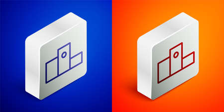 Isometric line Award over sports winner podium icon isolated on blue and orange background. Silver square button. Vector Illustration