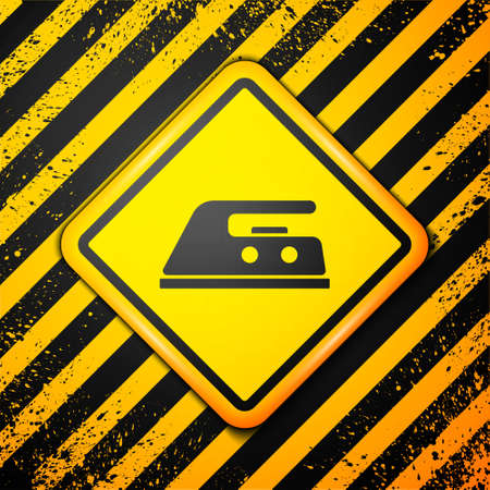 Black Electric iron icon isolated on yellow background. Steam iron. Warning sign. Vector Illustration