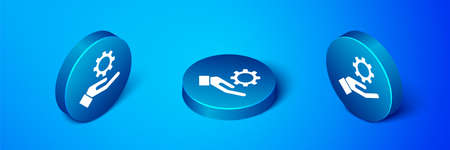 Isometric Settings in the hand icon isolated on blue background. Blue circle button. Vector Illustration