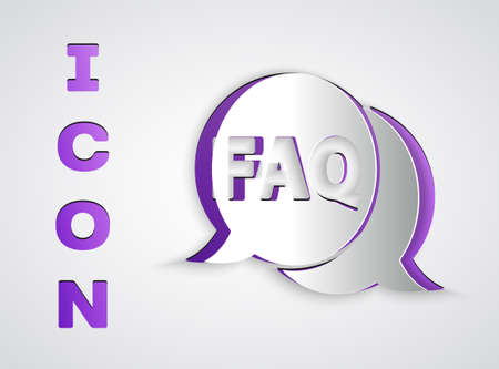 Paper cut Speech bubble with text FAQ information icon isolated on grey background. Circle button with text FAQ. Paper art style. Vector Illustration