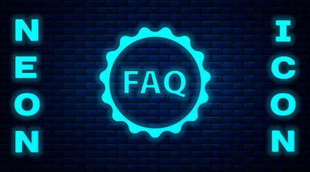 Glowing neon Label with text FAQ information icon isolated on brick wall background. Circle button with text FAQ. Vector Illustration.