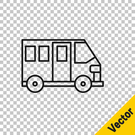 Black line School Bus icon isolated on transparent background. Public transportation symbol. Vector Illustration Illustration