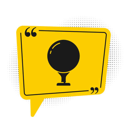 Black Golf ball on tee icon isolated on white background. Yellow speech bubble symbol. Vector Illustration.