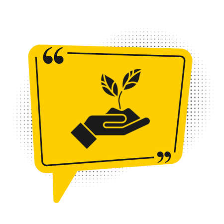 Black Plant in hand of environmental protection icon isolated on white background. Seed and seedling. Planting sapling. Yellow speech bubble symbol. Vector Illustration 版權商用圖片 - 150167835