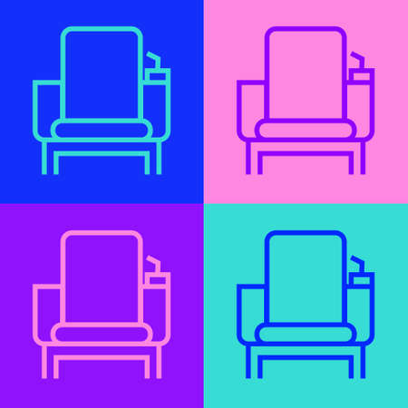 Pop art line Cinema chair icon isolated on color background. Vector Illustration Vectores
